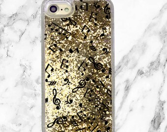 Music Gift, Gold Glitter iPhone Case, iPhone 8, iPhone 7 Plus, iPhone 7, iPhone 6, iPhone 6 Plus, Holographic Glitter, Music Lover Gift