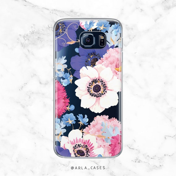best sneakers 8dffc 803ef Floral Phone Case, Clear Galaxy S9 Case, note 8, note 9, s9 plus case,  iPhone XR, 8 Plus, 7 Plus, 6s, S8 Plus, Anemone Phone Case, 7 plus