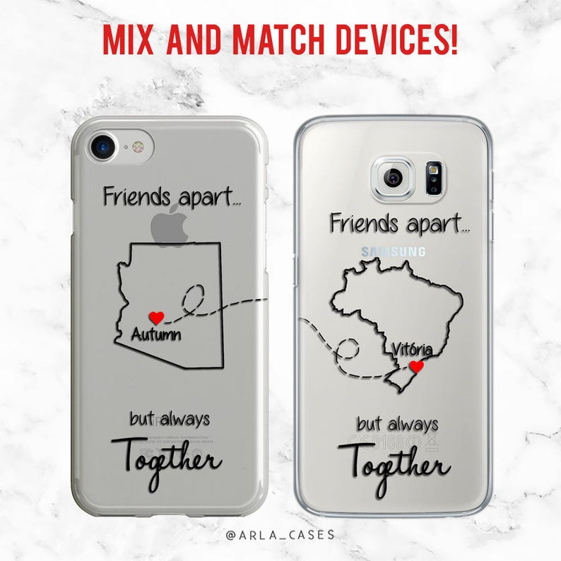 meet 652ae c323f LDR Best Friend Phone Case, iPhone 7 Plus Case, Samsung Galaxy S9 Case,  iPhone 6, S6 Edge, Long Distance Friendship, Gifts for Her