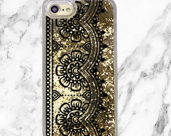 Gold Glitter iPhone Case, Gifts for Her, iPhone 8, iPhone 7 Plus, iPhone 7, iPhone 6, iPhone 6 Plus, Holographic Glitter, Black Lace Trim