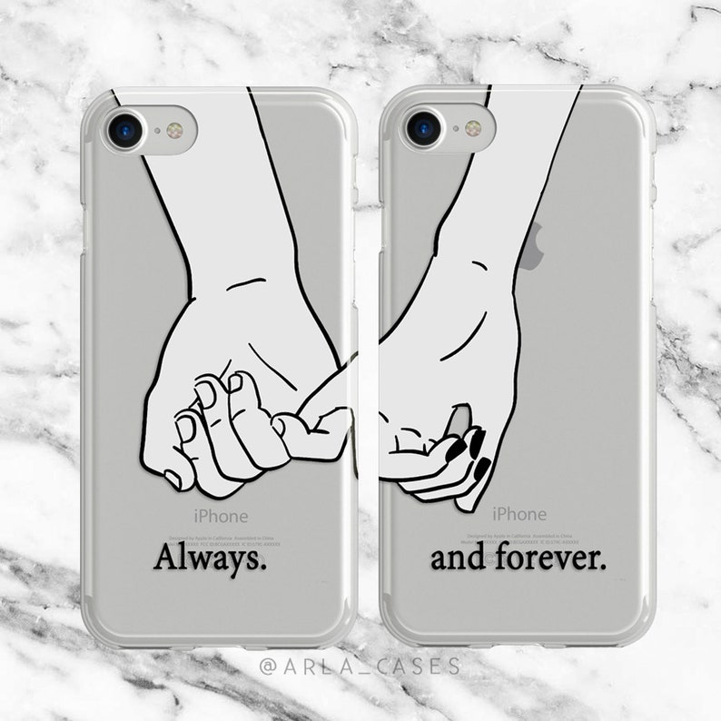 53620d7477a9c Couples Phone Case, iPhone 7 Plus Case, Samsung Galaxy S9, iPhone 6, S8  Case, Long Distance Relationship, Pinky Promise, Gifts for Her, TPU