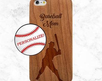 Personalized Phone Case, Baseball Coach Gift, Baseball mom, iPhone X, 8 Plus, 7, Galaxy S9 Plus, S8, S7 Edge, SE, Custom Wooden Phone Case