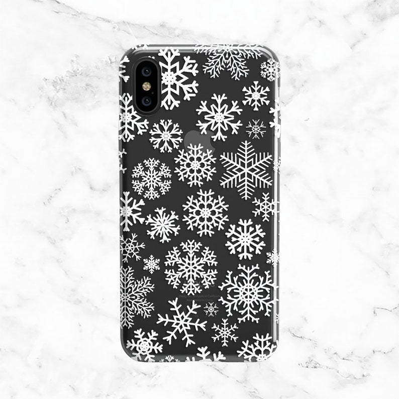 edf9ef7915eea0 White Snowflakes Phone Case, Christmas Stocking Stuffer Gifts for Her,  iPhone Case, Samsung Galaxy Case