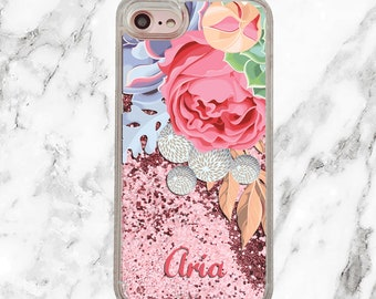 Personalized iPhone Case, Custom Name, Floral Phone Case, iPhone 8 Plus, iPhone 7 Plus, iPhone 6s, Pink Holographic Glitter, Gifts for Her