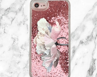 Floral Phone Case, Pink Glitter iPhone Case, iPhone 8, 7 Plus, iPhone 7, iPhone 6, iPhone 6 Plus, Holographic Glitter, Peony Phone Case