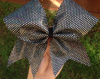 Black and Silver dot cheer bow