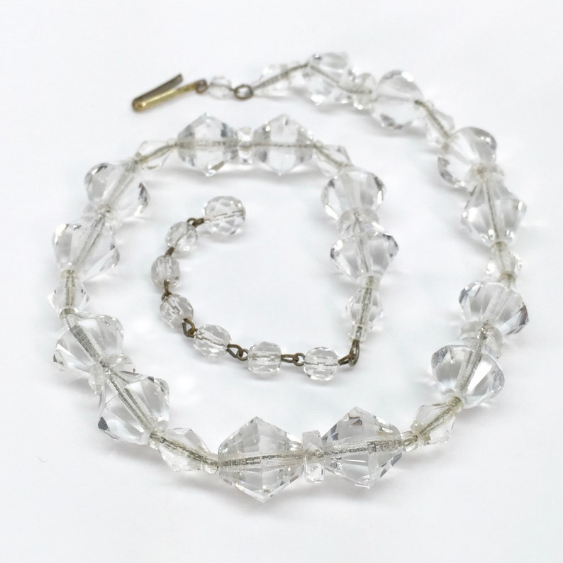 1960s Cut Glass Necklace  Vintage Clear Glass Beads Strung on Metal Chain  Marked West Germany