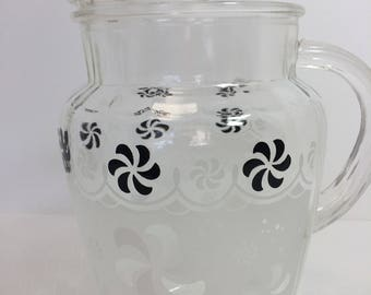 1950s Retro Black and White Frosted Pitcher 2 Quart