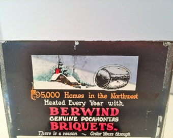 Glass Advertising Negative - Berwind Briquets 1920s?