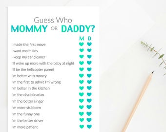 Mommy Or Daddy Baby Shower Game Printable Baby Shower Game Etsy