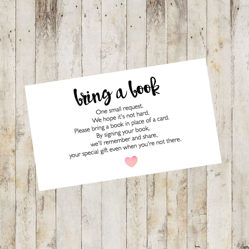 Rare image pertaining to bring a book baby shower insert free printable