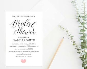 Bridal Shower Invitation, Bridal Shower Invites, Wedding Shower Invitation, Wedding Printable,Watercolor Texture, Instant Download