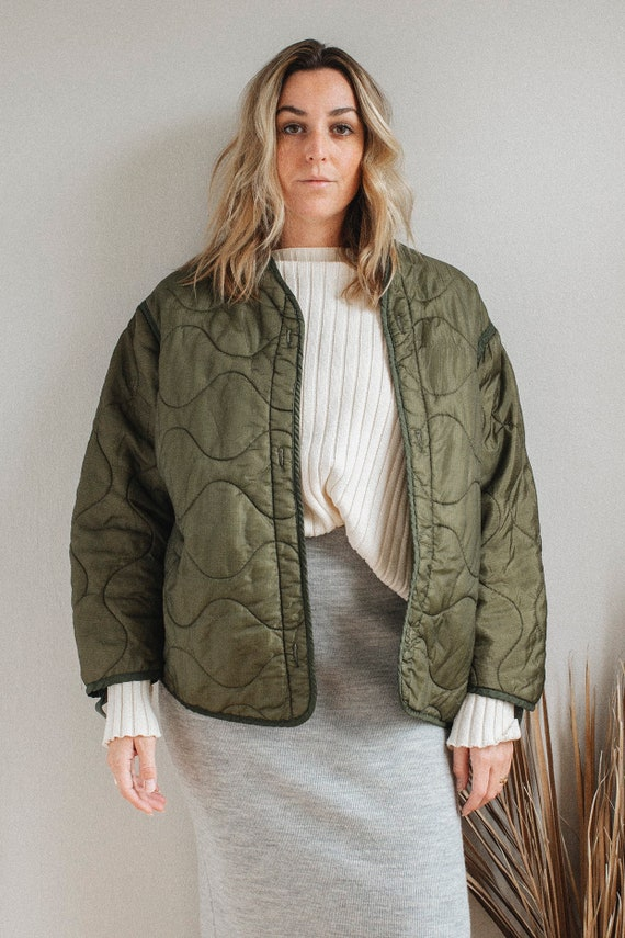 Vintage Army Liner Quilted Jacket - Womens S M