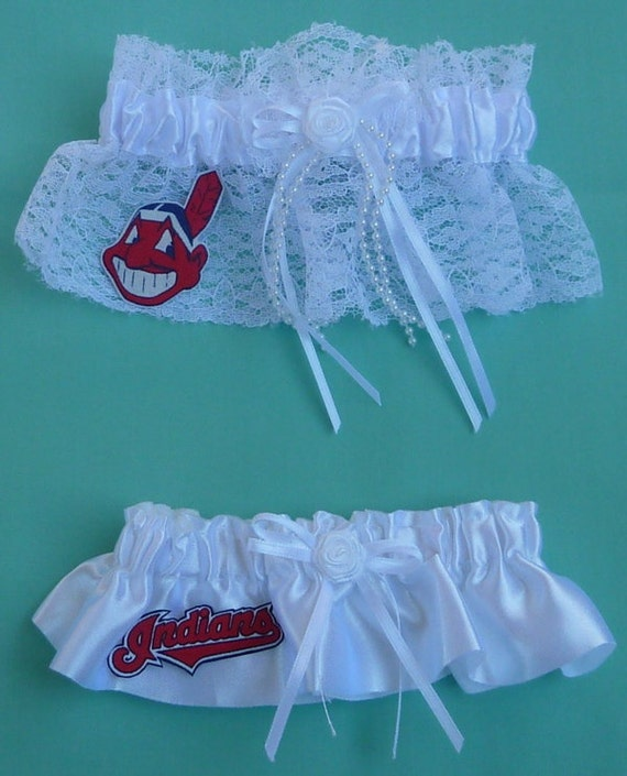 Handmade Can Be Personalized Cleveland Indians Wedding Garter Set