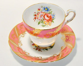 Paragon Pink Gold Floral Teacup Fine Bone China England 1960's