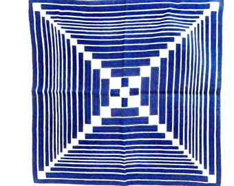 Brown and white modern handkerchief  vintage geometric hankie