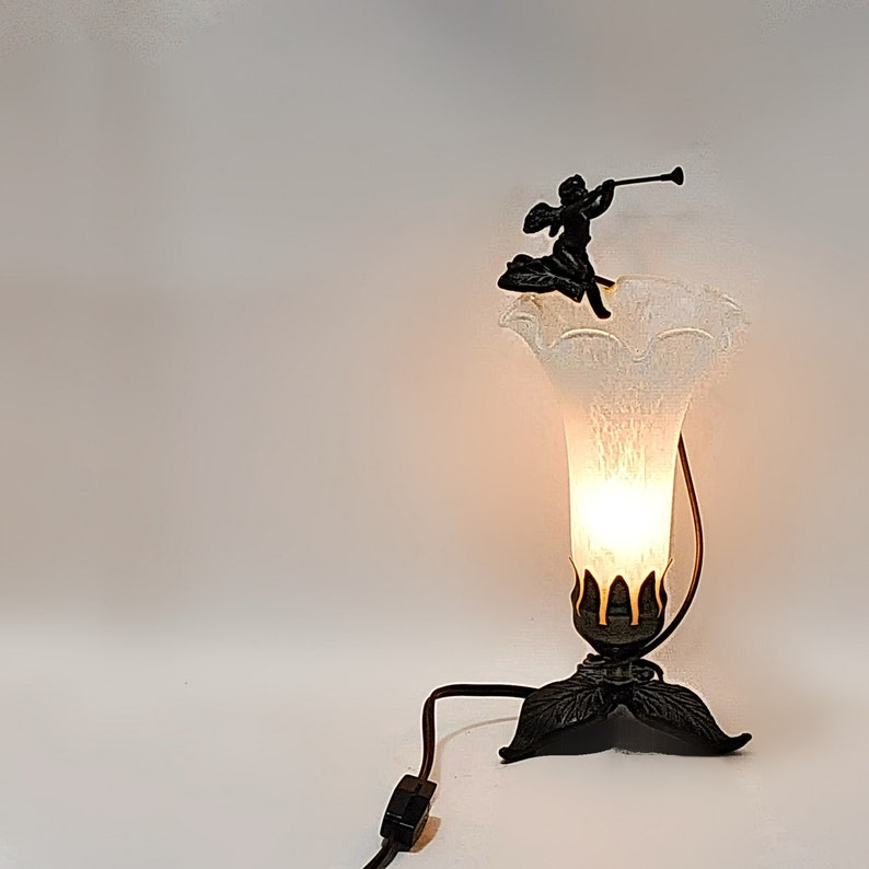 Angel Trumpet Herald Lamp Metal Glass Christmas Decor Table Bedside Night  Table