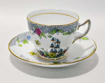 Rosina Bone CHina Hand Painted Tea Cup Saucer England Butterfly Flowers Garden