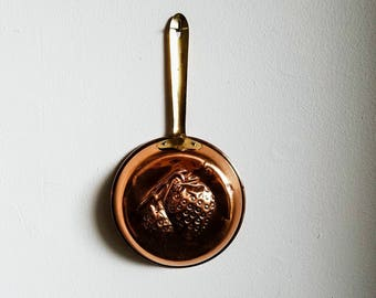 Copper and Brass Pan, Vintage Strawberry Pan