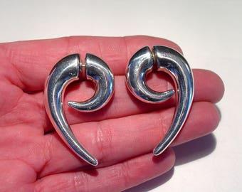 Minimalist Modernist Studio Sterling Silver Doubled Sided Dagger EARRINGS