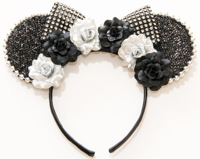 Black Silver Mouse Ears Headband