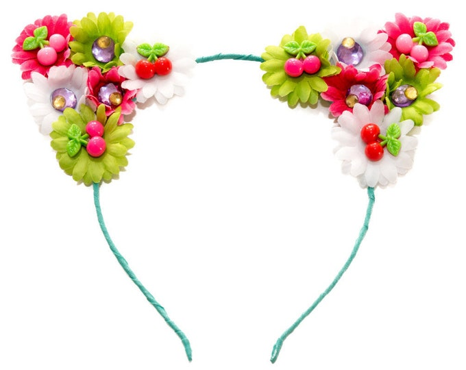 Cherry Cat Ear Headband
