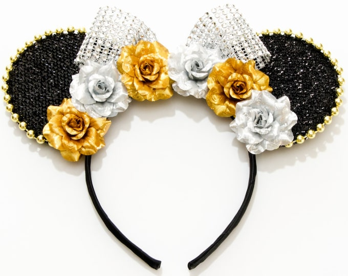 Gold Silver Mouse Ears Headband