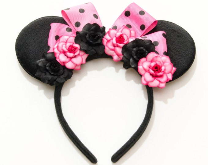 Pink Black Mouse Ears Headband