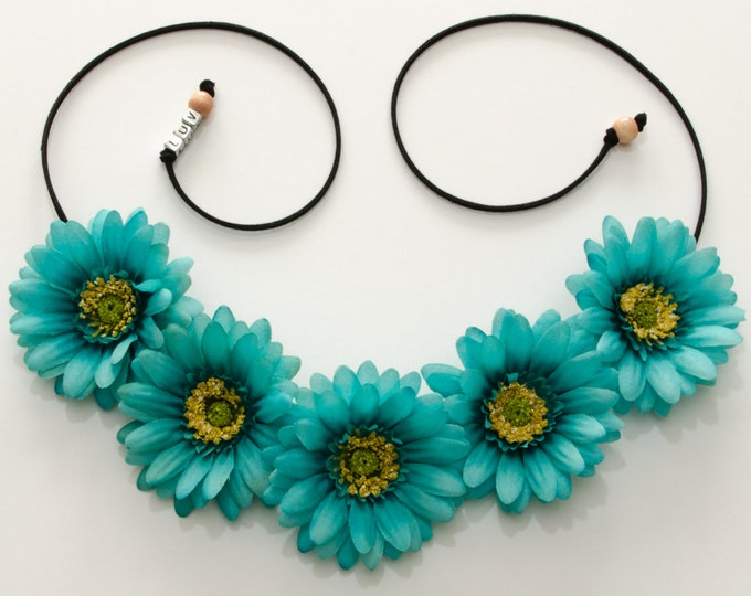 Teal Daisy Flower Crown