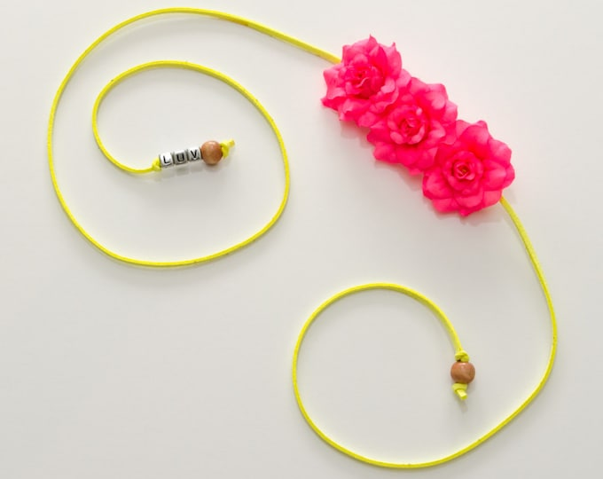 Neon Pink Rose Side Flower Crown