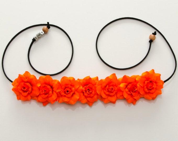 Neon Orange Rose Flower Crown