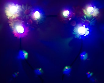 Day of the Dead LED Cat Ears, Kitten Ears, Flower Headband, Día de los Muertos, Halloween Costume, LED Costume, Festival Clothing, Rave Wear
