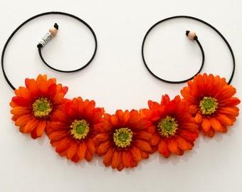 Orange Daisy Flower Crown, Flower Headband, Hippie Headband, Festival Headband, Bohemian Headband, BoHo Headband, Halloween Headband