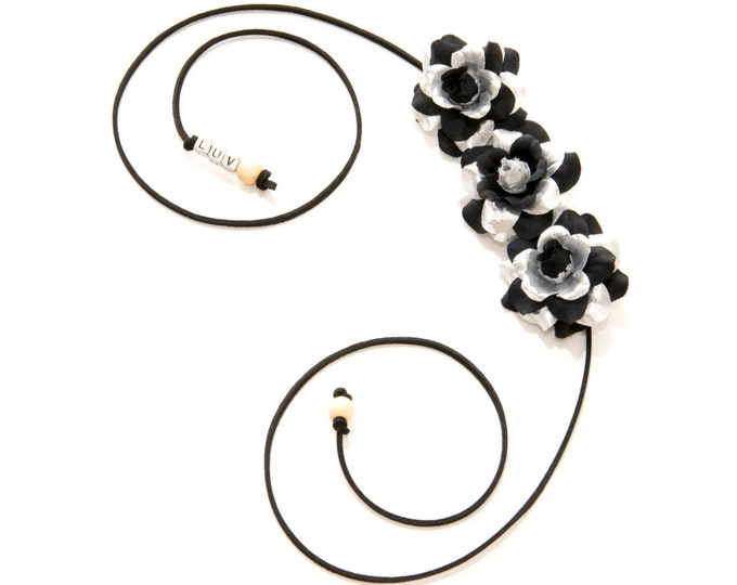 Black Silver Rose Side Flower Crown