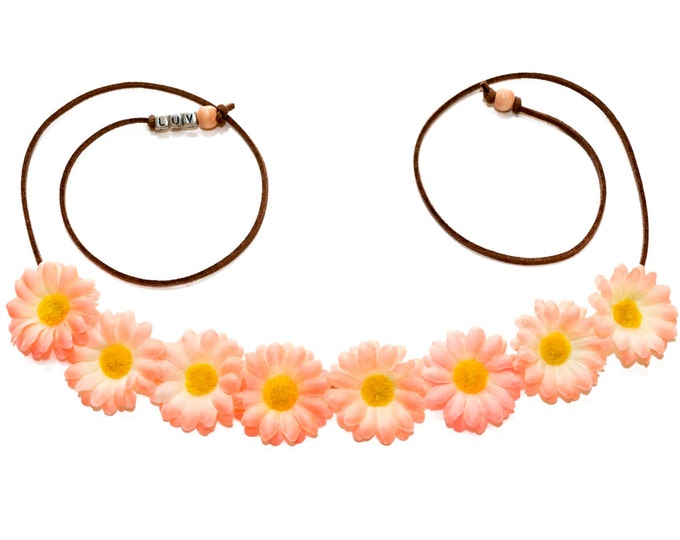 Peach Daisy Flower Crown