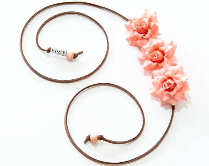Peach Rose Side Flower Crown