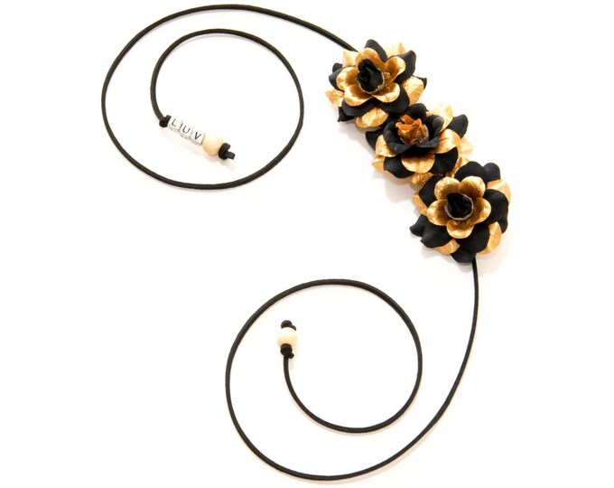 Black Gold Rose Side Flower Crown