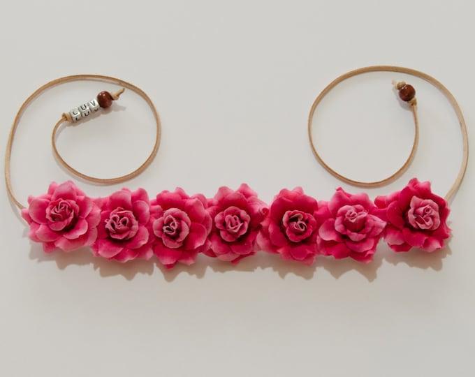 Dark Pink Rose Flower Crown