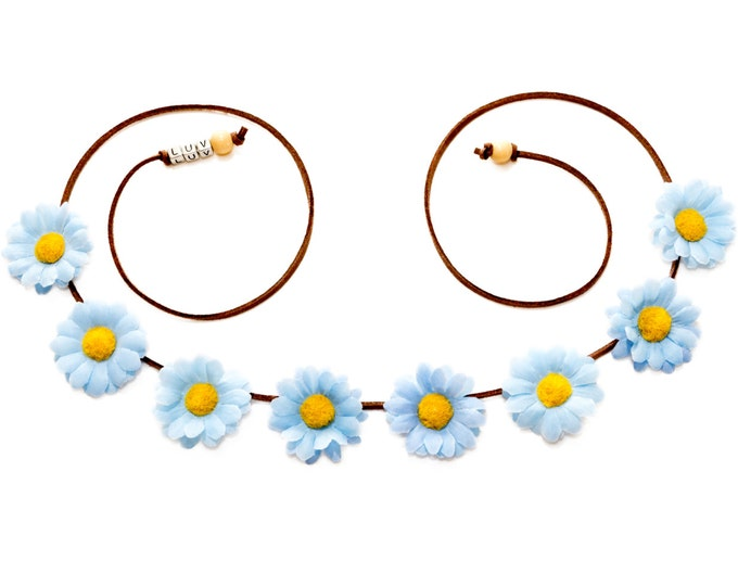 Light Blue Daisy Flower Crown