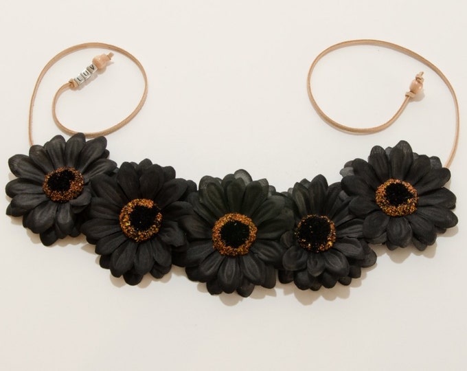 Black Daisy Flower Crown