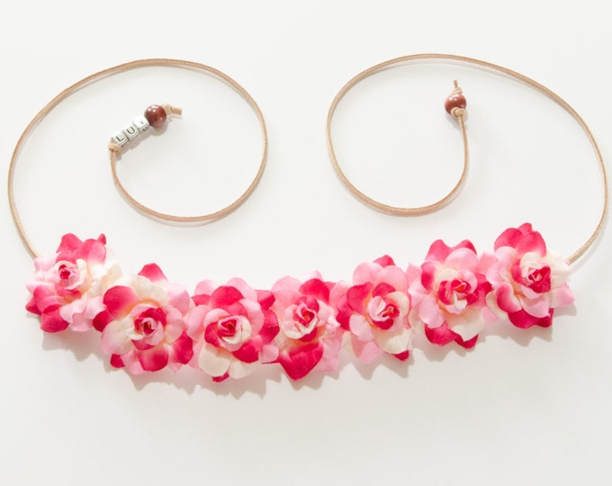 Pink White Rose Flower Crown
