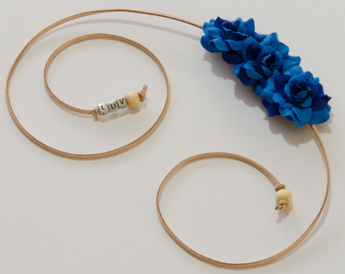Blue Rose Side Flower Crown