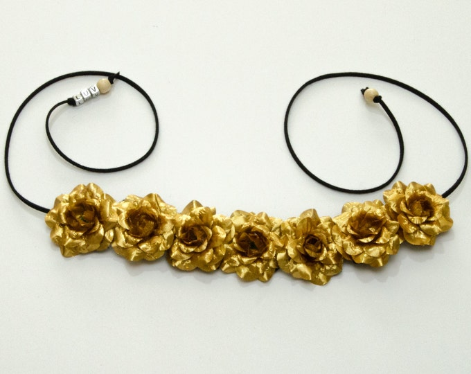Gold Rose Flower Crown