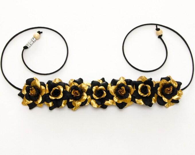 Black Gold Rose Flower Crown