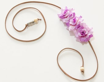 Purple Rose Side Flower Crown, Flower Headband, Festival Headband, Hippie Headband, Kawaii Headband, Bohemian Headband, BoHo Headband