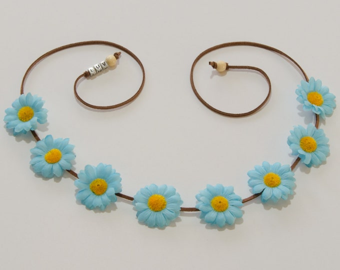 Electric Blue Daisy Flower Crown