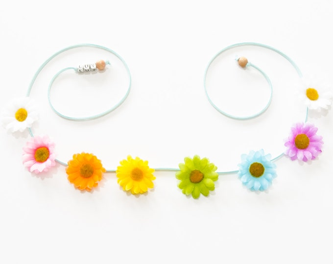 Pastel Rainbow Daisy Flower Crown