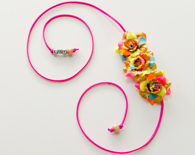 Gold Neon Rainbow Rose Side Flower Crown