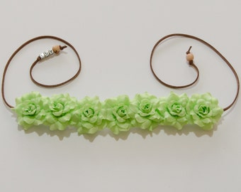 Light Green Rose Flower Crown, Flower Headband, Hippie Headband, Festival Headband, Spring Headband, St Patrick's Day Outfit, Rave Wear