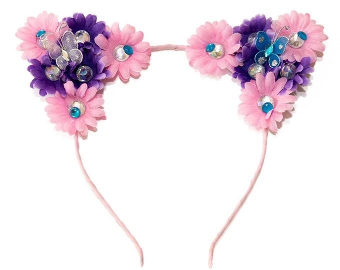 Pink Purple Cat Ear Headband